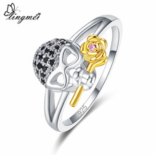 Lingmei Unique New Arrival Rose-flower Women Round Cut Pink & Red Zircon Silver Yellow Goldplated Skull Ring Size 6 7 8 9