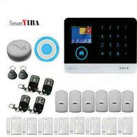 SmartYIBA WIFI 3G Ev Güvenlik Alarm Sistemi APP Kontrol Duman sensör Strobe Siren IP Kamera Için Şok Sensörü SMS GPRS Alarm