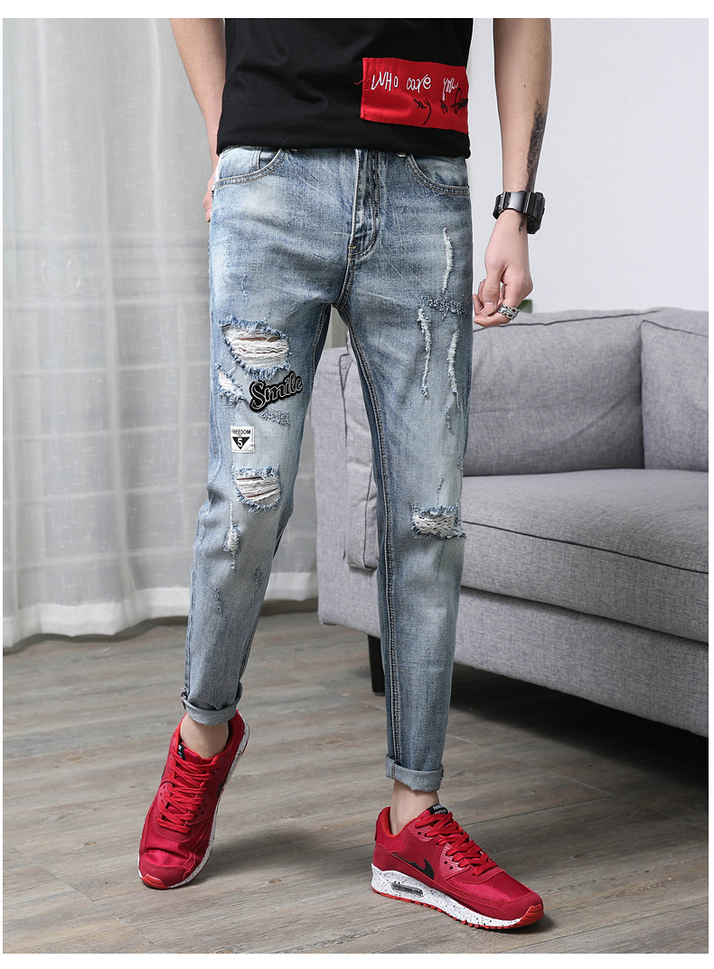 KSTUN Men's Jeans Summer Ripped Biker Jeans Stretch Light Blue Vintage Torn Male Denim Slim Casual