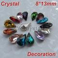 Top Quality Different Colors 8x13mm 10pcs/lot Droplets Pointback Crystals Stones Bulk Rhinestones DIY Phone Case