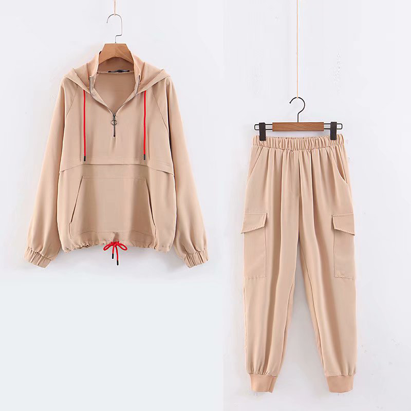 ZXQJ New Spring Women Za Joggers Tracksuit 2019 Chic Kangaroo Pocket Hooded Jacket High Elastic Long Pants Sportswear