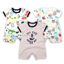2018 fashion Infant clothing baby romper gray short sleeve cartoon Jumpsuit newborn boy girl clothes
