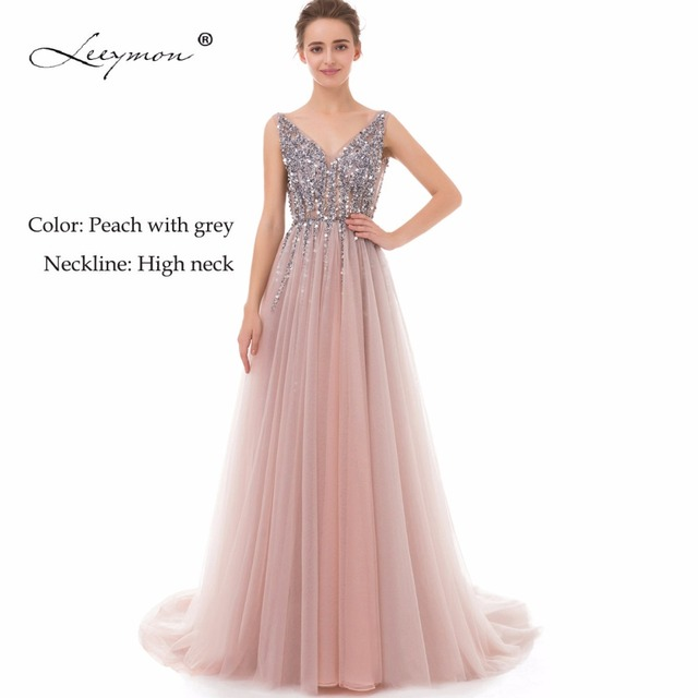 V Neck Sparkly Beaded Evening Dress Backless Evening Party Dress Elegant Sexy See Through High Split Vestido de Festa