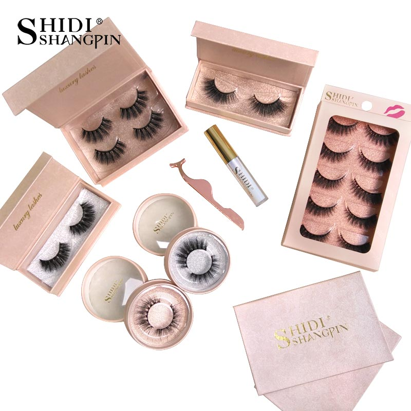 SHIDISHANGPIN Mink Eyelashes Natural Long 3d Mink Lashes Eyelashes Glue False Eye Lashes Makeup Fake Eyelashes 25 Mm Lashes Kits