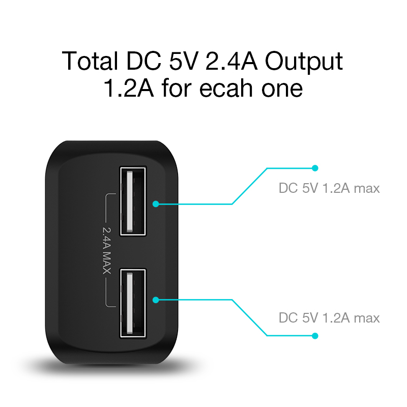 CAFELE Travel USB UE Ładowarka Wtyczka 2.4A Podwójne wyjście - Części i akcesoria do telefonów komórkowych i smartfonów - Zdjęcie 4
