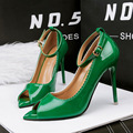 Sweet Candy Color Clasp Ankle Strap Sexy Sandal Thin Heel High Heels Shoes Pointed Patent Leather Ladies OL Office Shoes G888-6