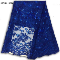 French Lace Fabric,Fashion Royal blue African Lace Fabric High Quality With Sequins Lace Fabric For Wedding Dress D701PL18A-6