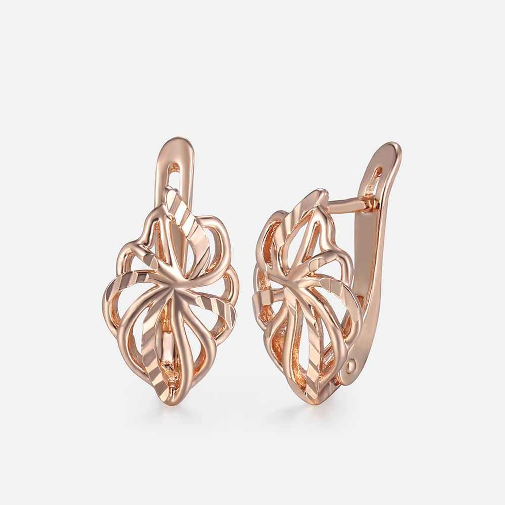Cut Out Leaf Stud Earrings For Women Girls 585 Rose Gold Earrings Women's Hot Party Wedding Jewelry Gifts for Women GE164