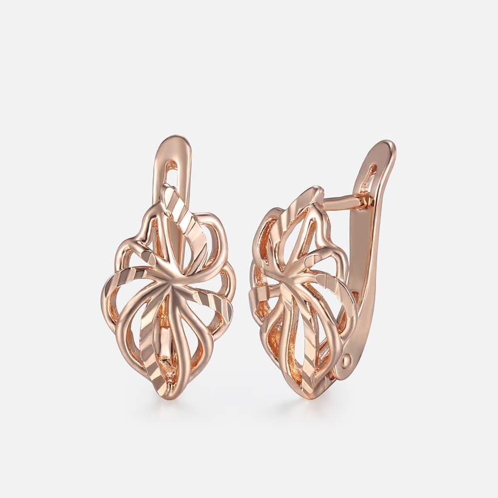 Cut Out Blatt Gestüt Ohrringe Für Frauen Mädchen 585 Rose Gold Ohrringe frauen Heiße Party Hochzeit Schmuck Geschenke für frauen GE164