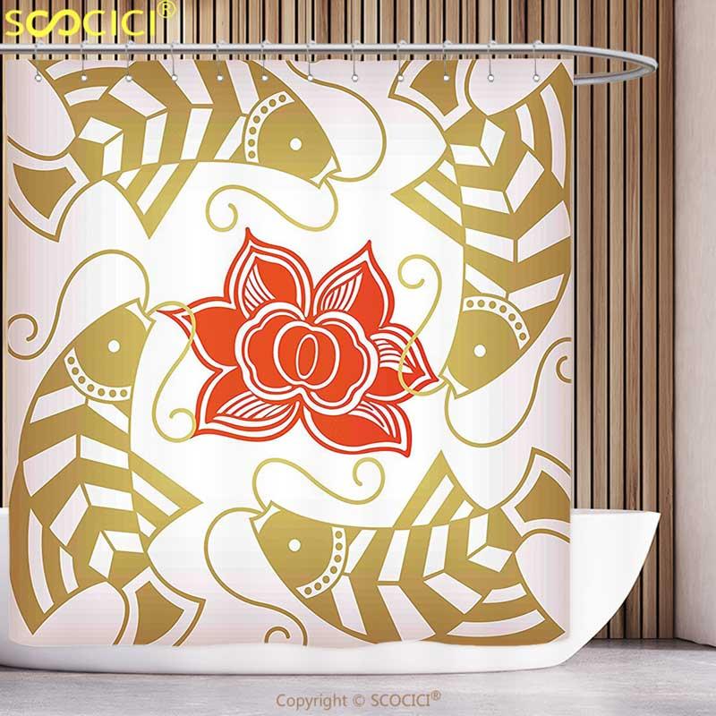 Japanese Shower Curtain Asian Bamboo Motifs Print for Bathroom