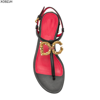 EDG Summer Flat Sandals Women Shoes 2019 luxury Brand Designer Sandals Black Ladies Leather Sandals Shoes Woman EURO 43 NO Logo