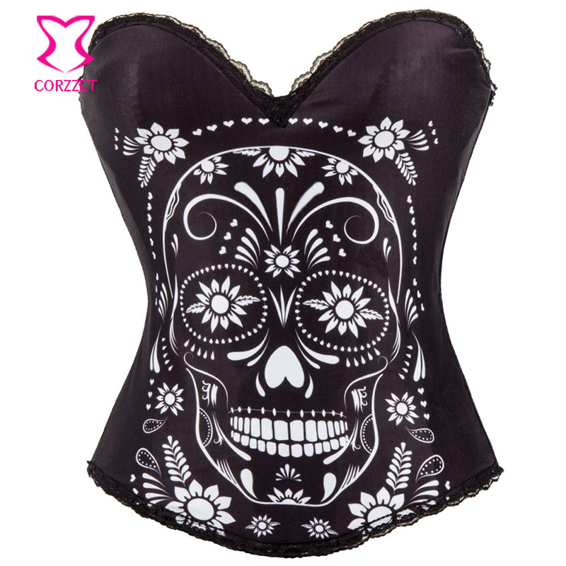 Hot Sale Punk Sexy   Corset     Bustier   Skull   Corsets   Fashion Women Halloween Party Club Wear Tops Flower Gothic Corselet Overbust
