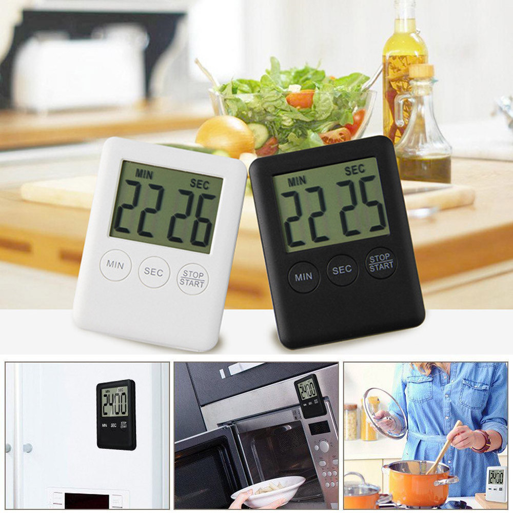 Digital kitchen timers LCD stopwatch Reminder Alarm Cooking alarm Clock Loud magnets Cou ...