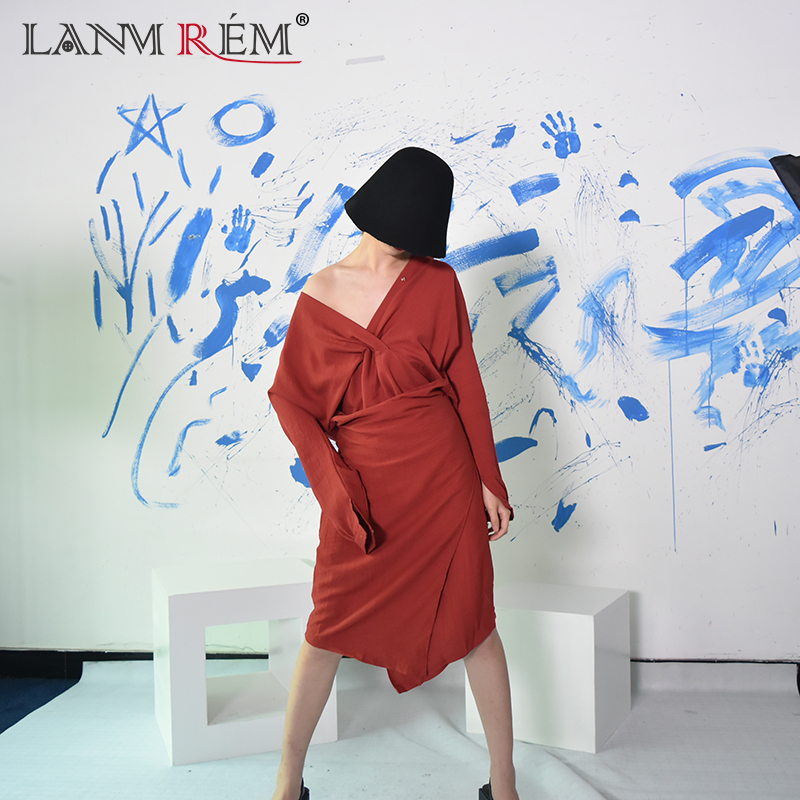 LANMREM 2018 Autumn New Korean Temperament Solid Color V Collar font b Long b font Sleeves