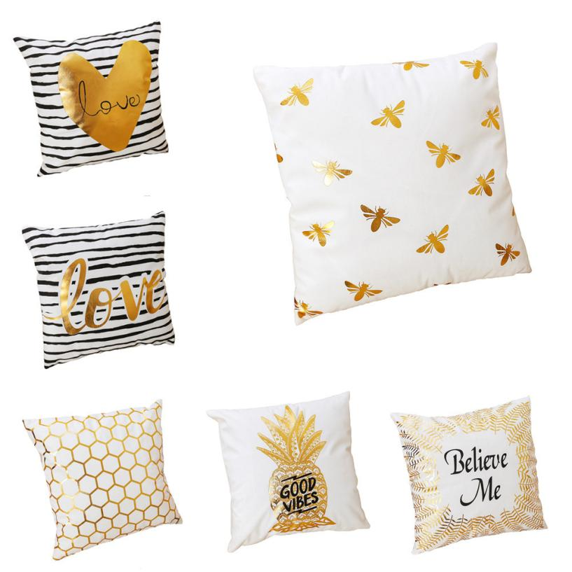 Decorative cushion covers 45x45 Soft Pure Gold Printing Soft Plush Pillowcases Bedding throw Pillow Cases for sofa decor 5O1220