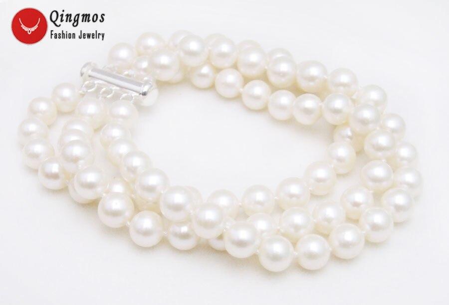 Qingmos Trendy White Akoya Pearl Bracelet for Women with AAA 6-7mm Round Natural Pearl 3 Strands 7.5'' Bracelet & S925 Clasp-140 trendy letter heart round rhinestone bracelet for women