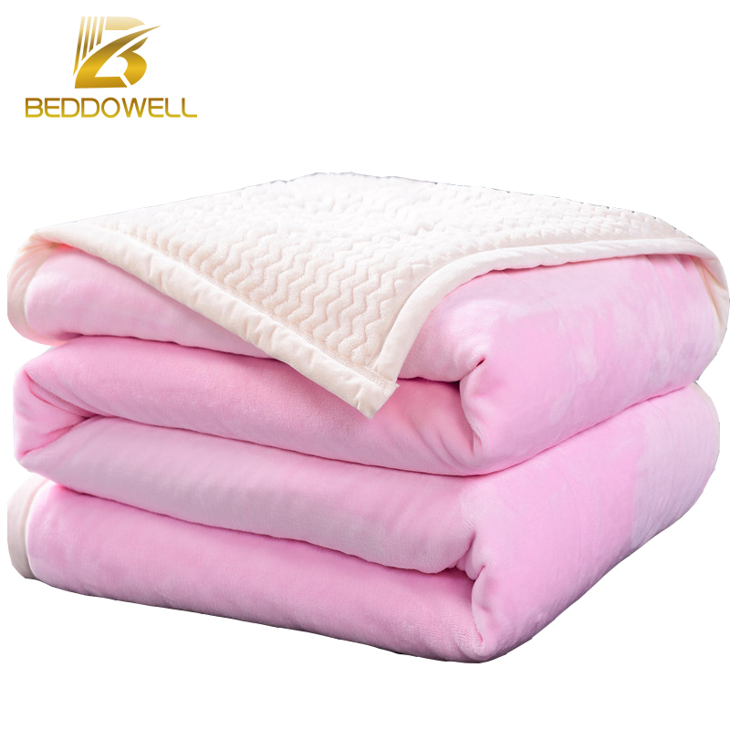 Japan Style Blanket Two Faces Solid Pink Mink Throw Soft Fleece Faux Fur Plaid Flannel Patchework
