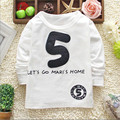 Unisex costume 2016 New Autumn Children's Cotton 5 number Sleeved T-shirt girls Tops Clothing Boys T Shirt O-neck Top Fashion