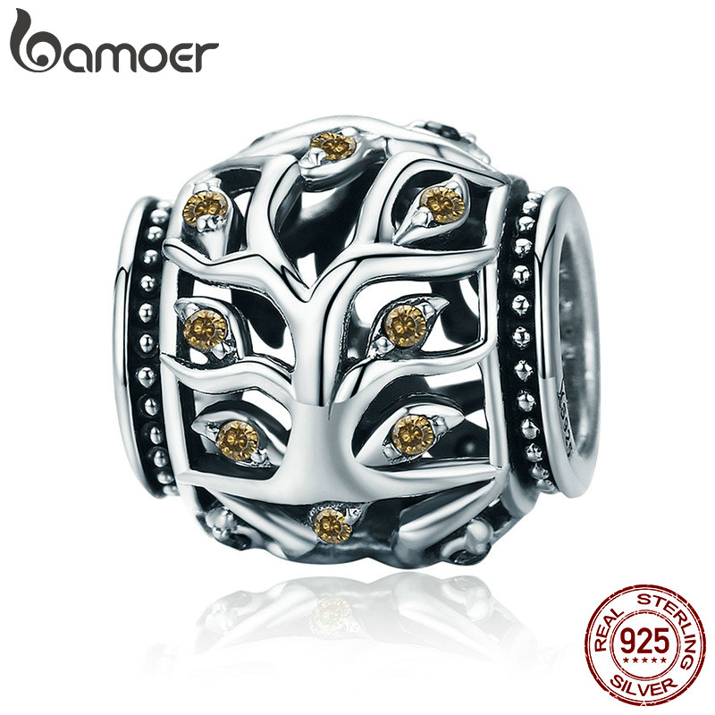 BAMOER 100% Authentic 925 Sterling Silver Tree of Life Beads Charms fit Charm Bracelets & Bangles DIY Jewelry Making SCC675 недорого