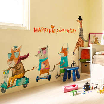 Cartoon Animal Family Giraffe Lion Fox Wall Stickers for Kids Room Wall Decoration Bedroom Children\'s Bedside Wallpaper