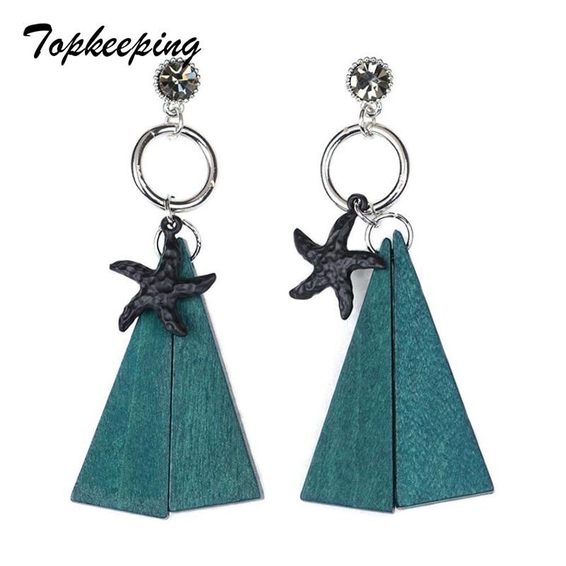 Topkeeping Brand Women 2018 New Fashion Jewelry Anniversary Gift Wooden Earrings Girls P ...