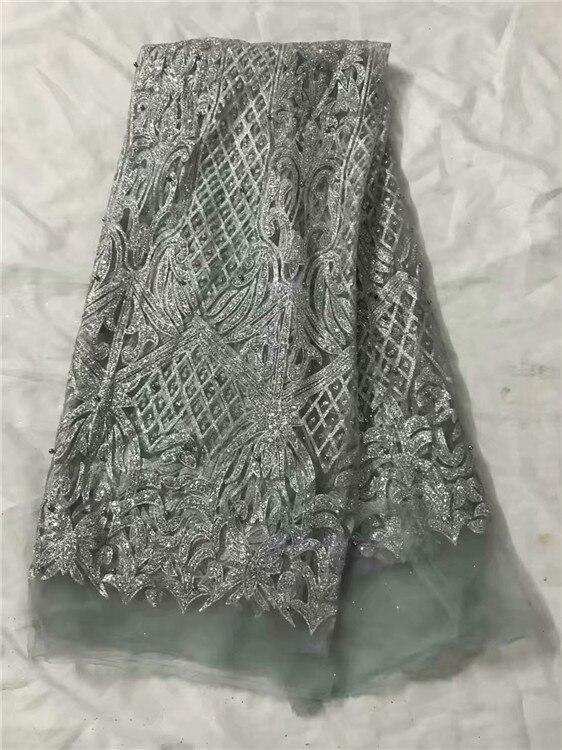 Acheter Incroyable argent avec glitter Français net dentelle tissu avec perles pour shinning partie robe UN123 (5 yards/lot) peut faire beaucoup de couleur de Dentelle fiable fournisseurs