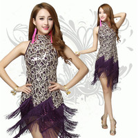 Latin Dance Costume Salsa Tango Rumba Cha Cha Ballroom Dance Dress Mini Dress 5 Colors Red