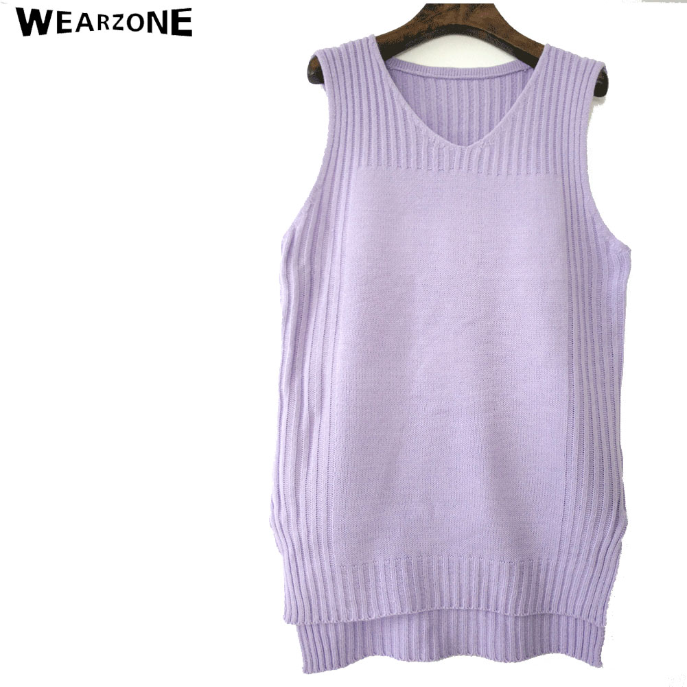 Fall winter 2017 New fashion Autumn Loose sleeveless V neck knitted vest & dress women sweater all-match pullover full femme