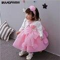 Primavera Verão 2017 Nova Vestido de Algodão Do Bebê Cem Dias Vestido Infantil 0-3 Anos Da Princesa Meninas Vestido de Cor Rosa