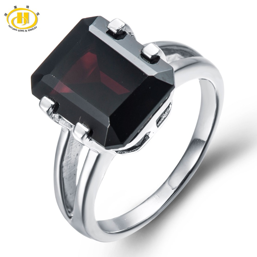 Hutang New Big Natural Black Garnet Ring Solid 925 Sterling Silver Women's Man's Emerald Cut Gemstone Fine Jewelry Party New