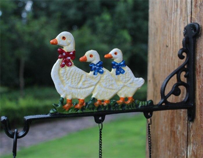 Европейский талисман кованого железа ужин колокольчик три утки Добро пожаловать Сельский садовый настенный подвесной декор Детская комната украшение дверной Звонок - 4