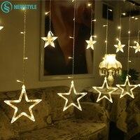 2M Christmas Lights AC 220V EU Romantic Fairy Star LED Curtain String Lighting For Holiday Wedding
