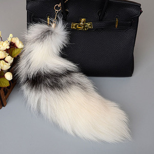 Large Fox Tail Keychain Pompoms Tassel Bag Pendant Women Key Ring Fluffy Real Fur Key Chain Charming Girl's Key Holder Gifts(China)
