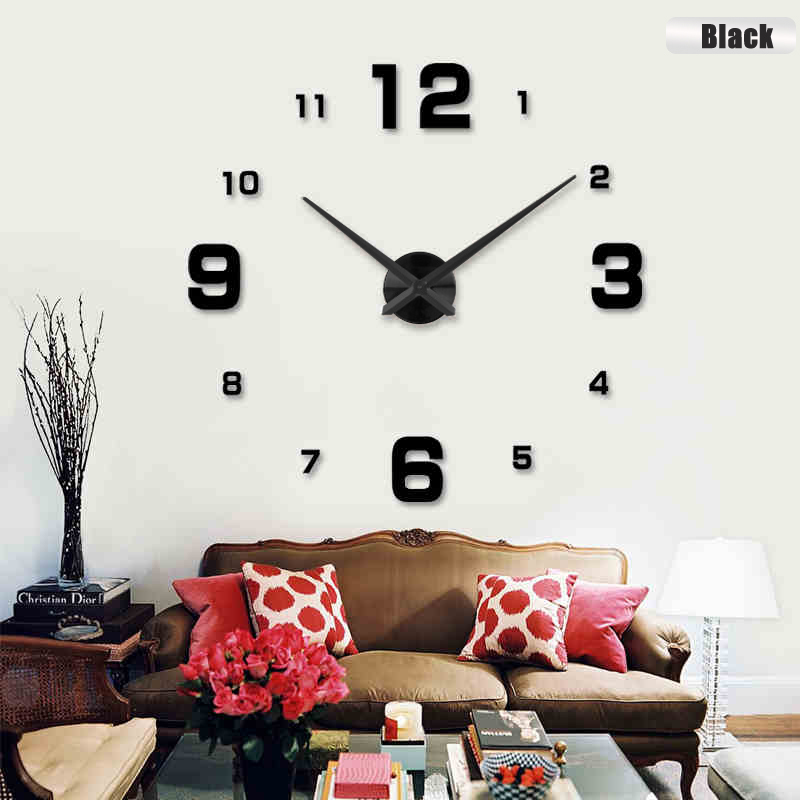 Hot venda Nova moda 3D tamanho grande relógio de parede espelho autocolante DIY relógios de parede de decoração para casa relógio de parede sala meetting relógio de parede