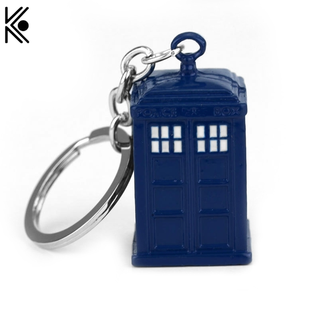 Doctor Who Blue TARDIS Police Box Keychain Copper Alloy Metal Key Rings For Gift