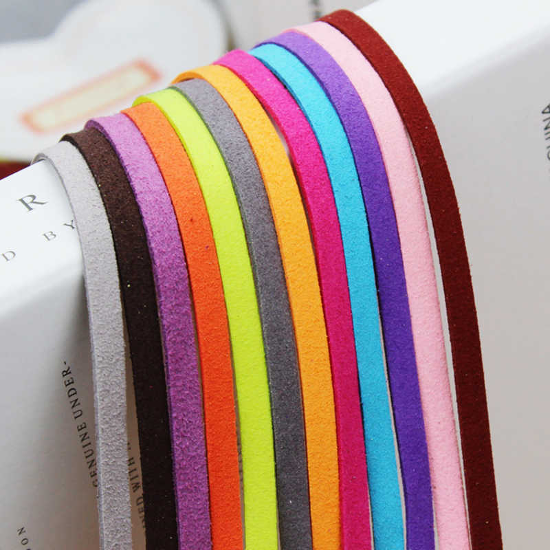 1m/lot Colors 5 mm Wide Flat Faux Suede Velvet Leather Rope Cord  Handmade DIY for Jewelry Making Choker Bracelet Necklace