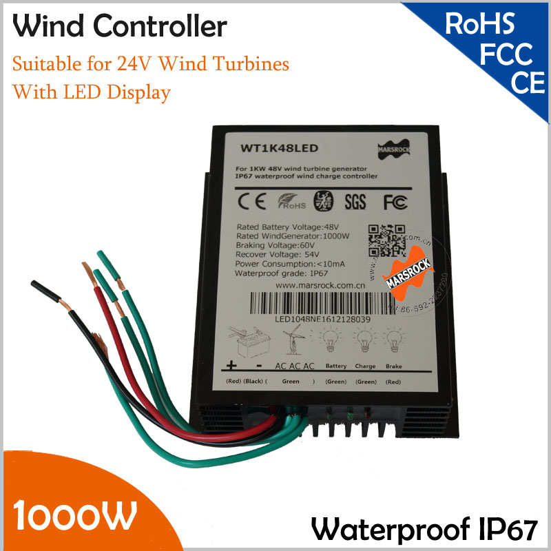 1000W 24V Wind Generator Charge Controller with LED display,Wind Turbine Charge Controller, IP67 waterproof free shipping 600w wind grid tie inverter with lcd data for 12v 24v ac wind turbine 90 260vac no need controller and battery