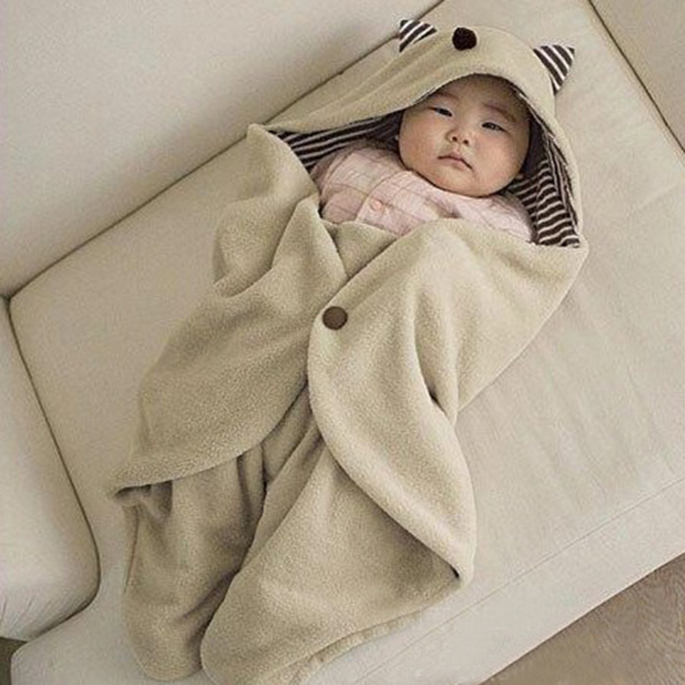 2016 Baby Sleeping Bag <font><b>Blanket</b></font> Swaddling Warm Multifunction Infant Baby Swaddle Fleece Warm <font><b>Blanket</b></font> Hooded Wrap Free Shipping