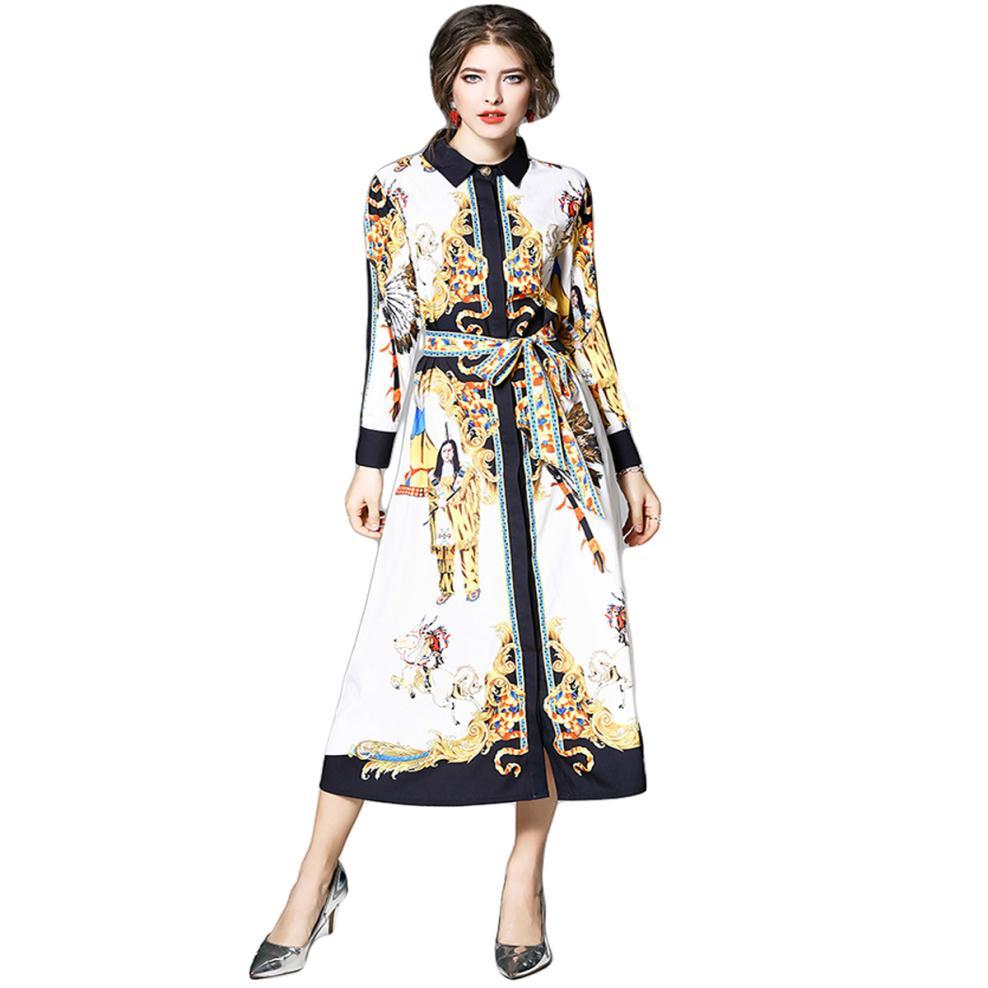 3d6cfb95d1feb US $21.52 41% OFF|Aliexpress.com : Buy Women Maxi Dress Shirt Long Sleeve  Runway Dresses Designer Covered Buttons Lace Up Indian Horses Angels 2018  ...