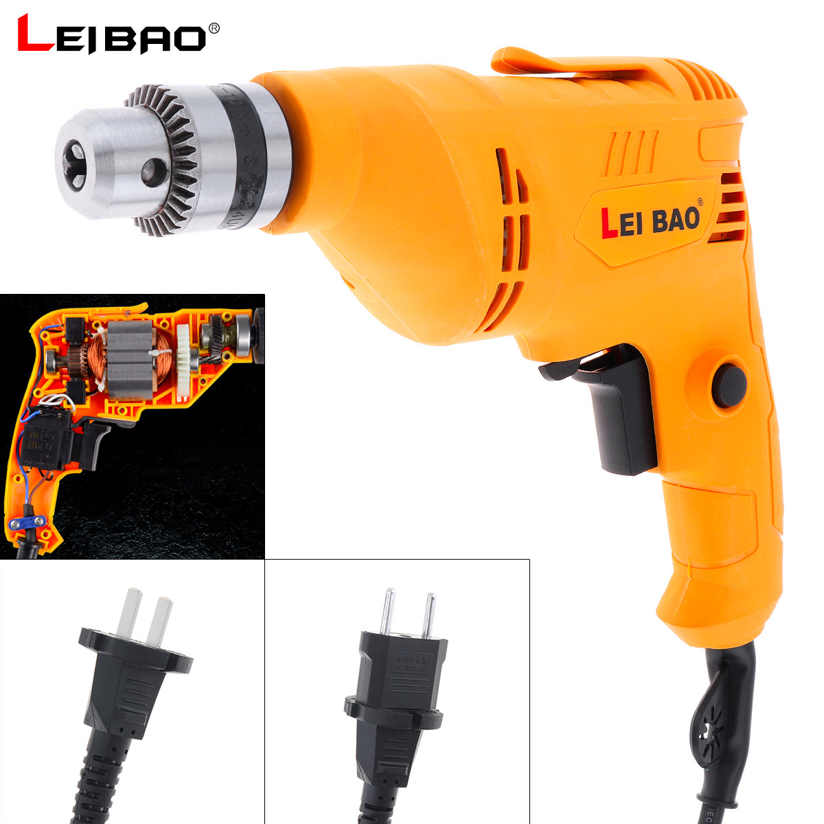 220V 580W Handheld Impact Electric Pistol Drill with Rotation Adjustment Switch and 10mm Drill Chuck for Punching Polishing image