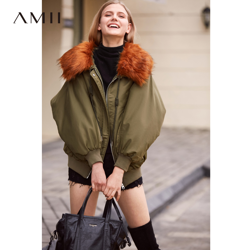 Amii Minimalist Short Down Coat Women Winter 2018 Sweat Girls Big Real Raccoon Fur Collar Zipper Female Short Down Jackets