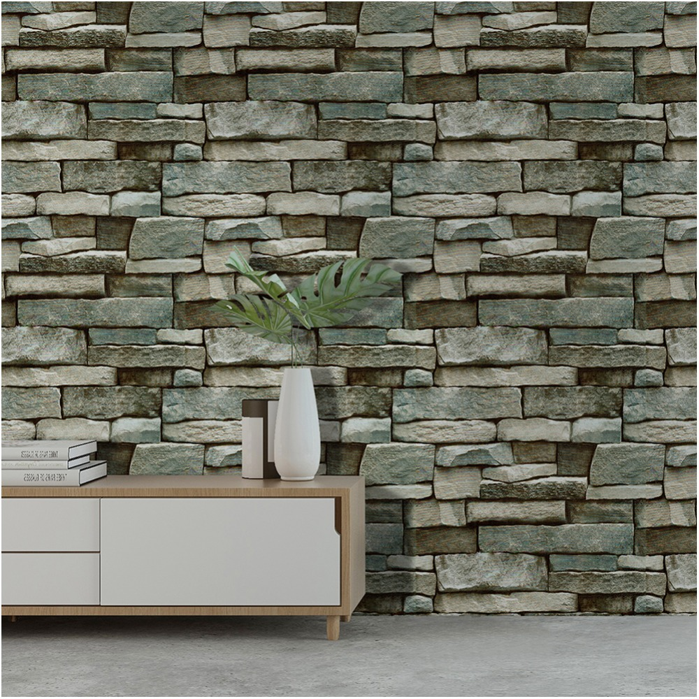 HaokHome Brick Wallpaper For Walls 3d Self Adhesive Peel Stick Wallcoverings mural Grey Blue For living room Kitchen Wall Decor 2 sheet pcs 3d door stickers brick wallpaper wall sticker mural poster pvc waterproof decals living room bedroom home decor