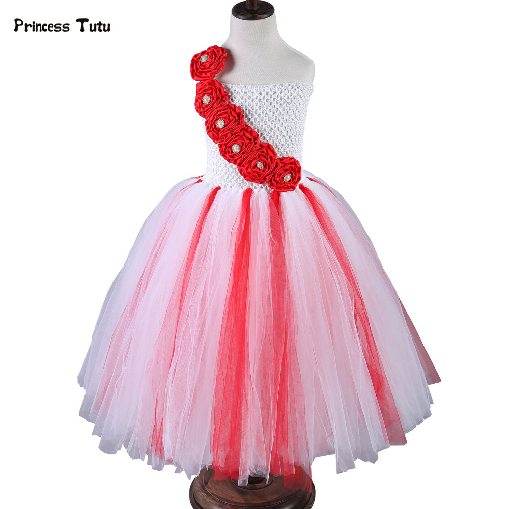 Girls Christmas Dress Red White Flower Girl Tutu Dress Kids Girl Tulle Birthday Party Dress Children Wedding Pageant Ball Gowns red girls christmas dress princess flowers tutu dress tulle children performance ball gown baby kids party christmas costumes