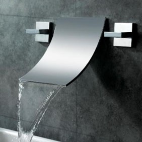 Lavatory Wall mounted Waterfall Dual Handles Basin Faucet with Wide Spread Spout Cooper Material Mixer wall mounted wide spread spout bathtub faucet oil rubbed bronze 3 handles mixer