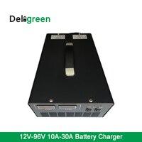 12 В 24V48V76V 96 В портативный Зарядное устройство 10A к 50A для свинцово кислотная Батарея Вилки для электрических скутеров автомобиля солнечный