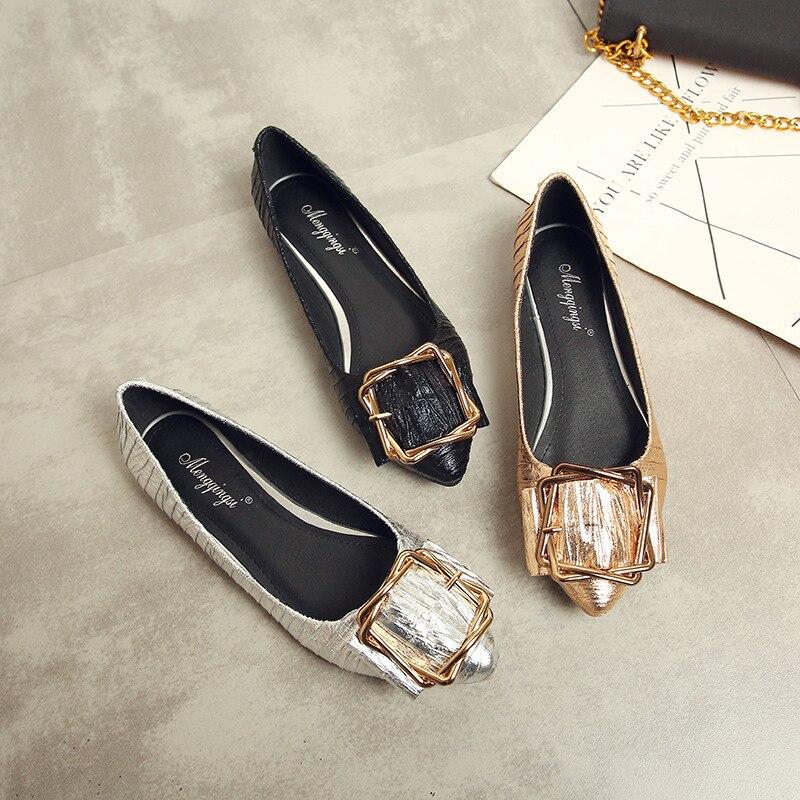 Plus Taille Glissement Décoration Femmes Peu Mode Printemps Casual Des En Profonde Sur Chaussures Métal Pointu Mocassins Bout De 43 La Plat Lady Ballet HravH1qxwn