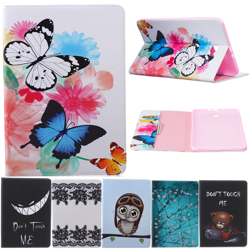 Butterfly Owl Cartoon PU Leather Flip Cover Cases For Samsung Galaxy Tab A A6 10.1 2016  ...