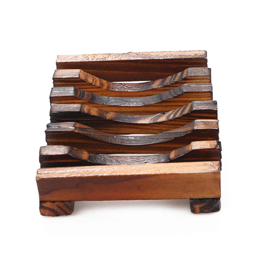 1PC przenośny Handmade drewniane łazienka drewno mydelniczka pojemnik kuchnia wanna z hydromasażem gąbka kubek do przechowywania Rack mydelniczka prysznic danie