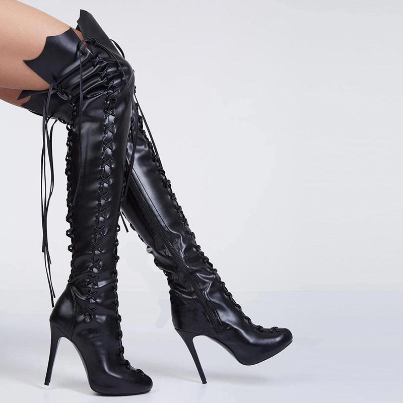 2017 Newest women PU Ceoss-tied thigh high boots cut-outs gladiator sandal boots over knee booty sexy club women boots