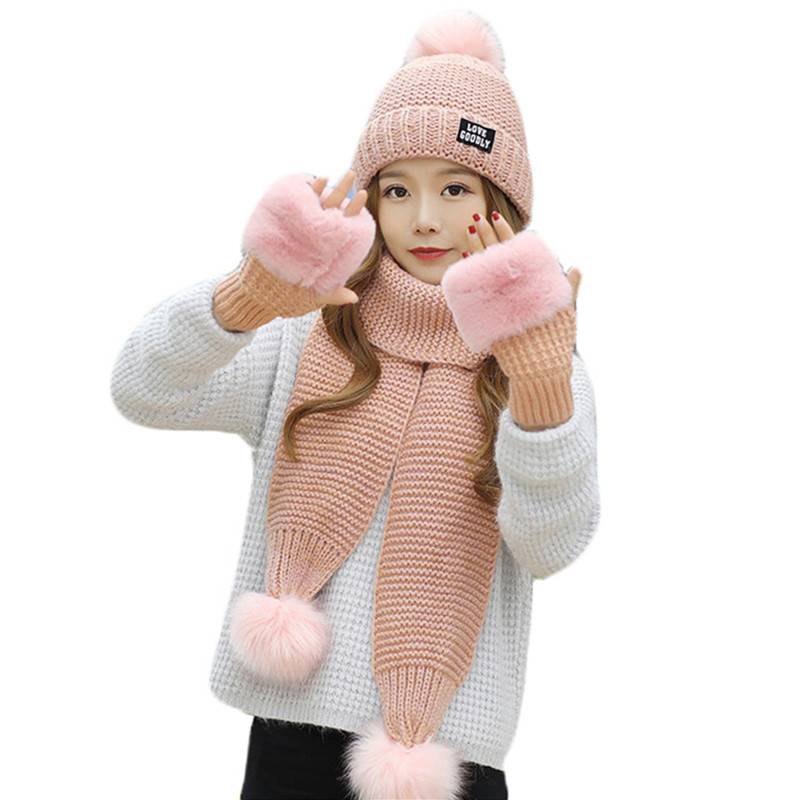 Girls Warm 3 Pieces Sets Winter Knit Hat Scarf Gloves For Women Thick Windproof Balaclava Multi Functional Hat Scarf Gloves Set